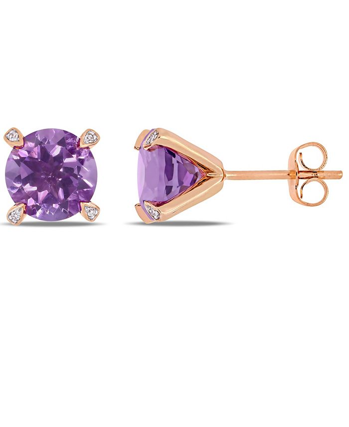 Macy's - Amethyst (3 ct.t.w.) with Diamond Accent Stud Earrings in 10k Rose Gold