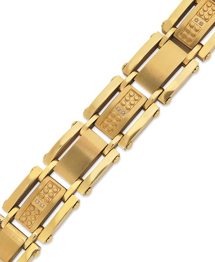 Macy's - Men's Single-Cut Diamond Bracelet in Stainless Steel and Yellow-Ion Plating (1/10 ct. t.w.)
