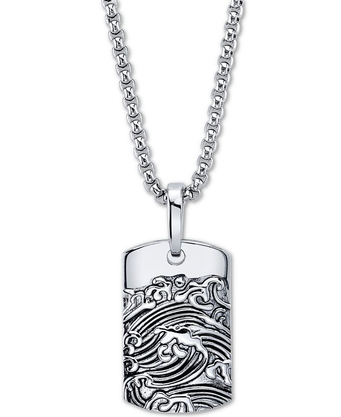 """He Rocks - Wave Motif Dog Tag Pendant Necklace In Stainless Steel, 24"""" Chain"""