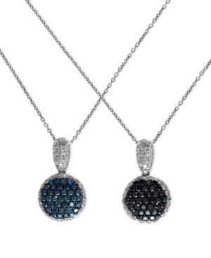 Diversa by EFFY Collection 14k White Gold Necklace, Blue, Black and White Diamond Reversible Pendant (1-1/2 ct. t.w.)