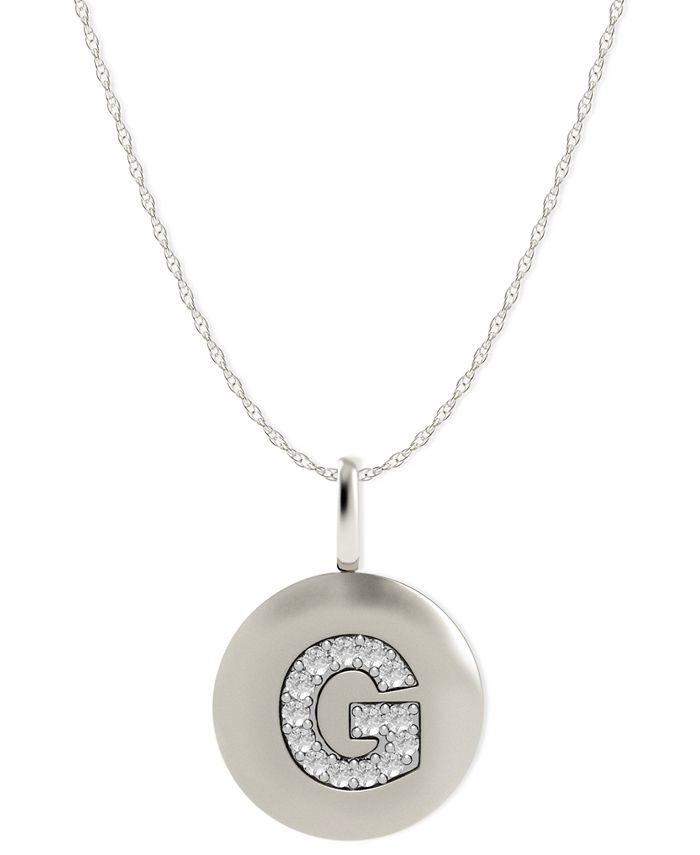 Macy's - 14k White Gold Necklace, Diamond Accent Letter G Disk Pendant
