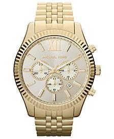 Michael Kors Men's Chronograph Lexington Gold-Tone Stainless Steel Bracelet Watch 45mm MK8281