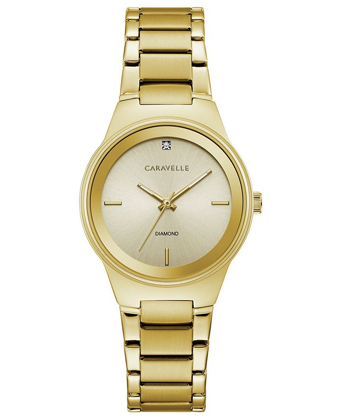 Caravelle - Women's Diamond-Accent Gold-Tone Stainless Steel Bracelet Watch 30mm
