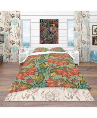 Designart 'Colorful Floral Pattern' Bohemian and Eclectic Duvet Cover Set - Queen
