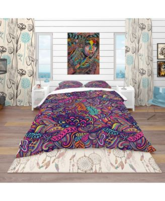 Designart 'Texture With Abstract Flowers' Bohemian and Eclectic Duvet Cover Set - Queen