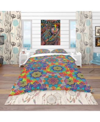 Designart 'Colored Indian Ornament' Bohemian and Eclectic Duvet Cover Set - Queen