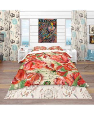 Designart 'Red Flower Pattern' Vintage Duvet Cover Set - King