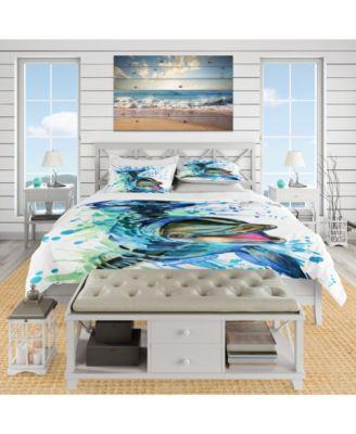 Designart 'Large Blue Dolphin Watercolor' Nautical and Coastal Duvet Cover Set - King