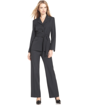 Le Suit Pantsuit, Pinstriped Belted Jacket & Pants