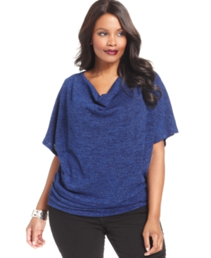 NY Collection Plus Size Short-Sleeve Drape-Neck Sweater
