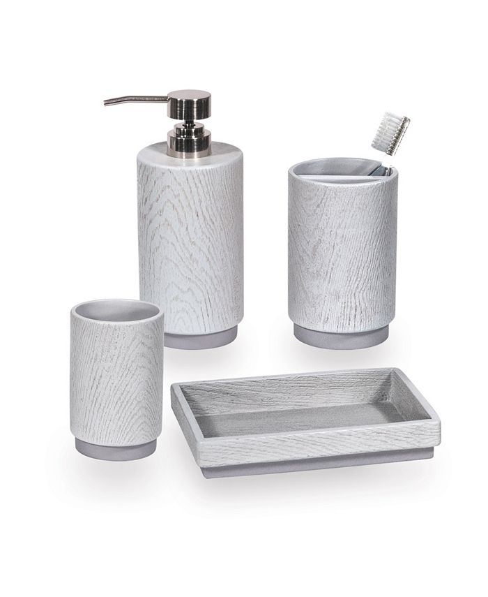 DKNY - Grey Wood 4-Pc. Bath Accessory Set