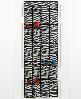 Whitmor Over the Door Shoe Organizer, 20 Pocket Zebra Bag