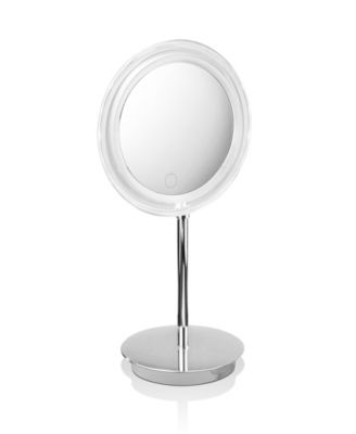Free Standing Lighted Magnifying Mirror in Polished Chrome