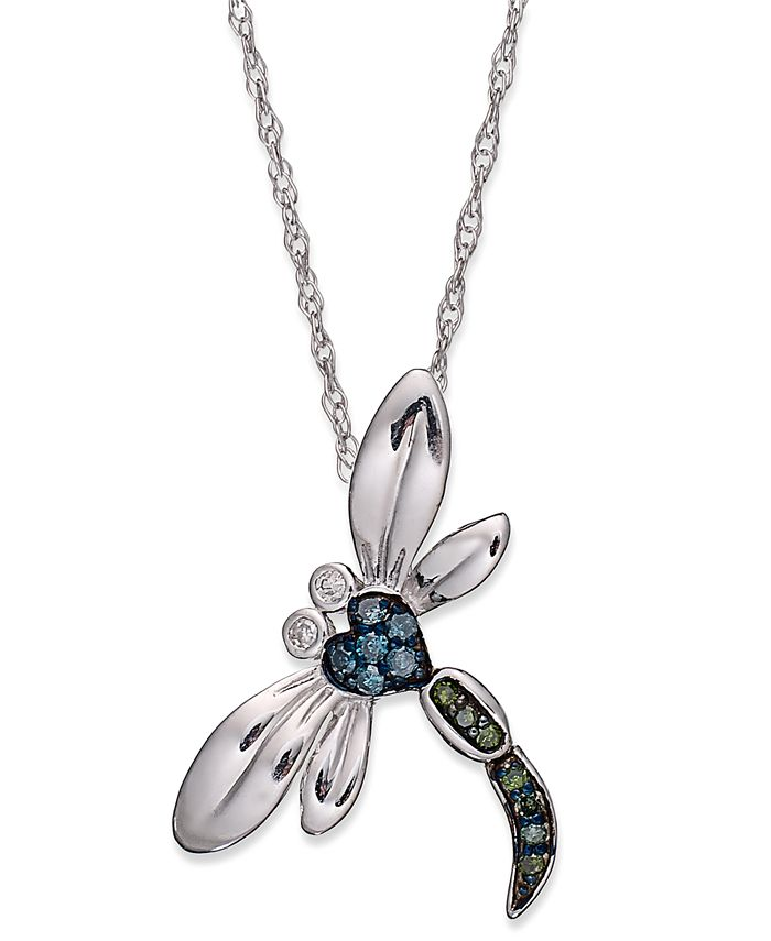 Macy's - Sterling Silver Necklace, Blue and Green Diamond Accent Dragonfly Pendant (1/10 ct. t.w.)