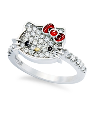 206955cd9 UPC 700825659468 product image for Hello Kitty Sterling Silver Ring, Small Pave  Crystal Face Ring ...