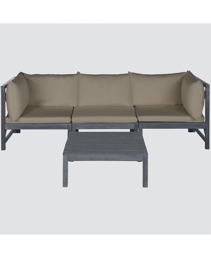 Safavieh - Pieter 4-Pc. Outdoor Sectional with Coffee Table, Quick Ship