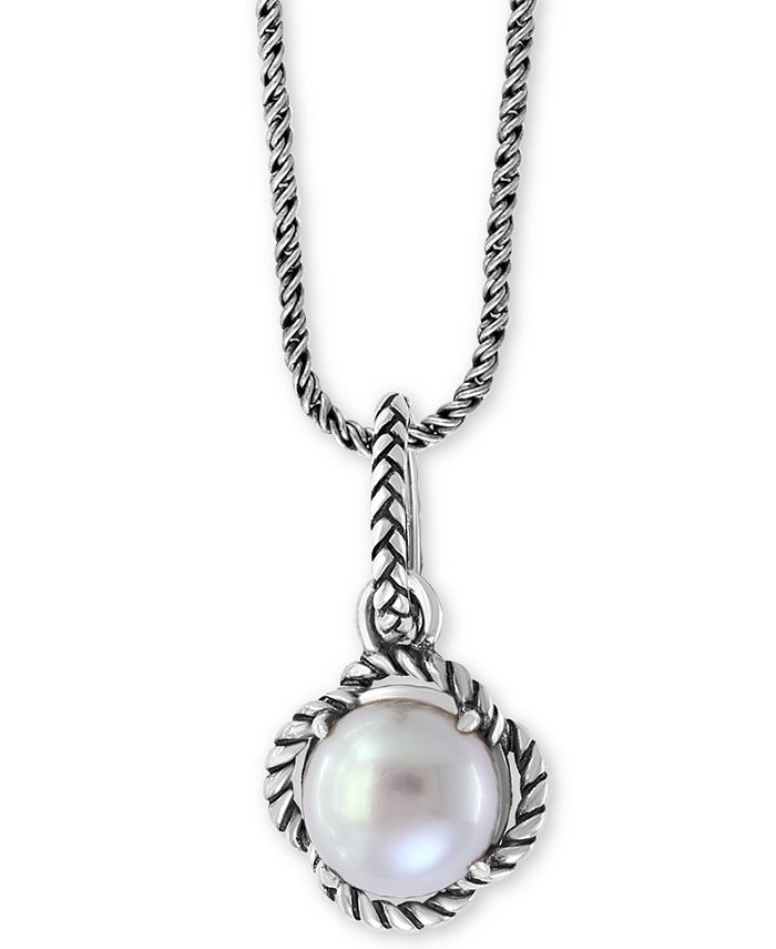 """EFFY Collection - Cultured Freshwater Pearl 18"""" Pendant Necklace (9mm) in Sterling Silver"""
