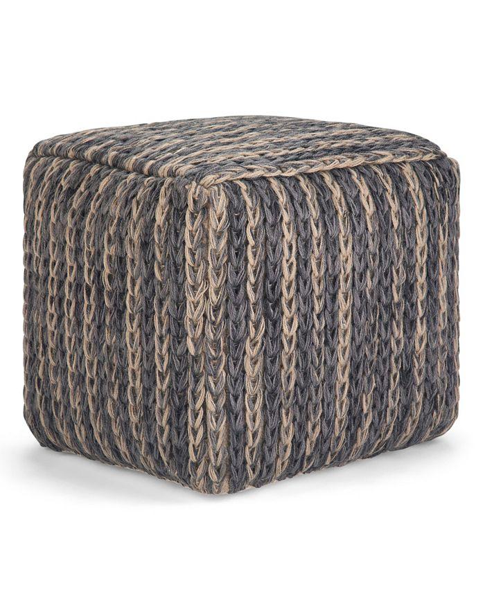 Simpli Home - Mullins Cube Pouf, Quick Ship