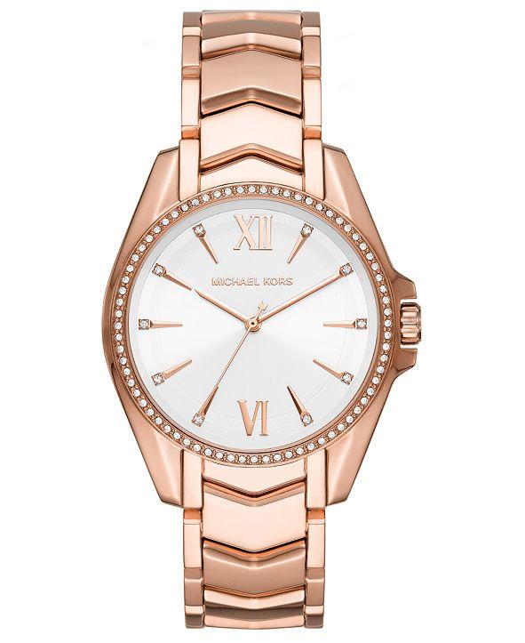 Michael Kors Women's Whitney Rose Gold-Tone Stainless Steel Bracelet Watch 38mm