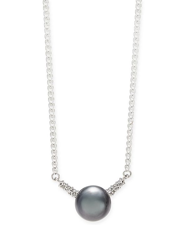 "Macy's Cultured Tahitian Pearl (9mm) & Diamond (1/8 ct. t.w.) 18"" Pendant Necklace in 14k White Gold"