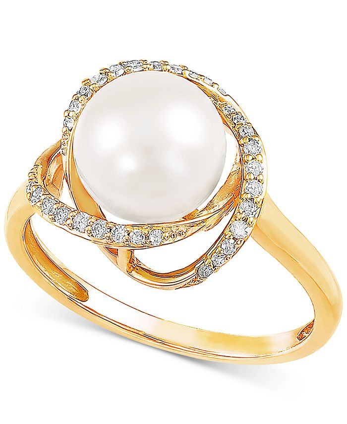 Honora - Cultured Freshwater Pearl (8mm) & Diamond (1/8 ct. t.w.) Ring in 14k Gold
