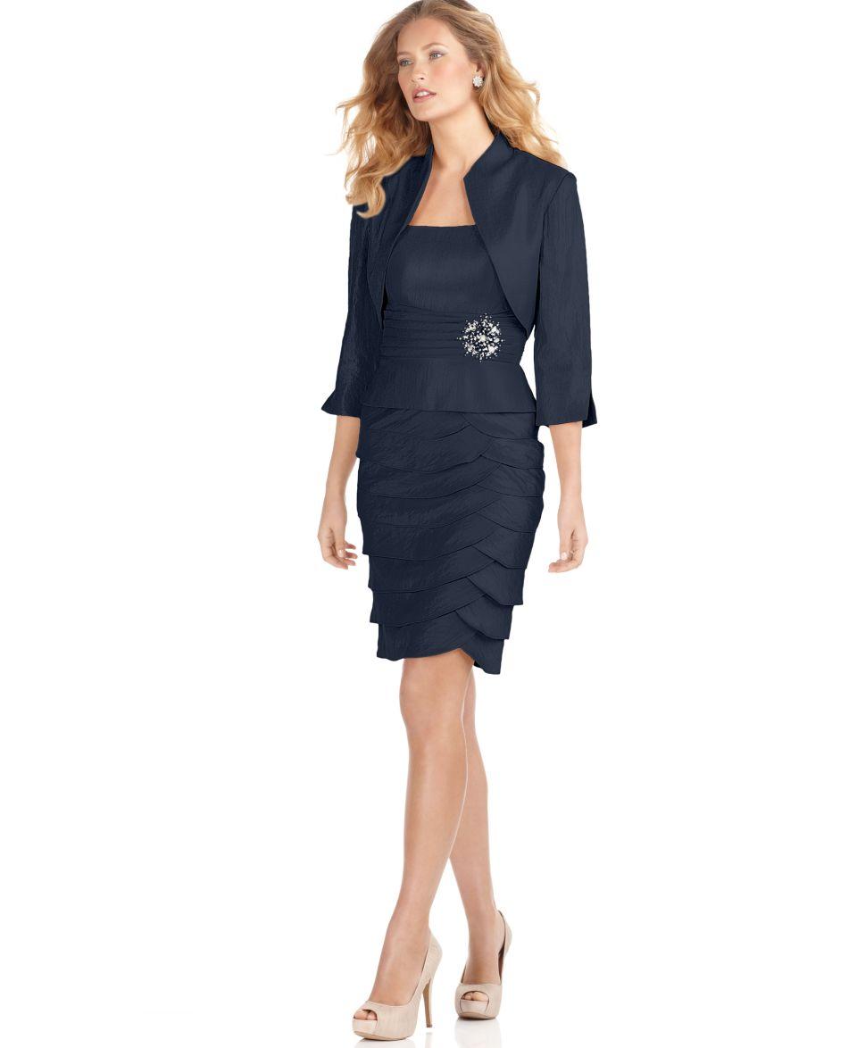 Jessica Howard Petite Dress and Jacket, Empire Waist Tiered Skirt   Dresses   Women