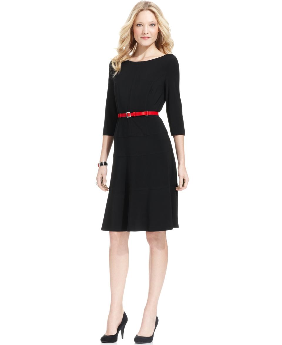 Anne Klein Three Quarter Sleeve Belted Dress   Dresses   Women