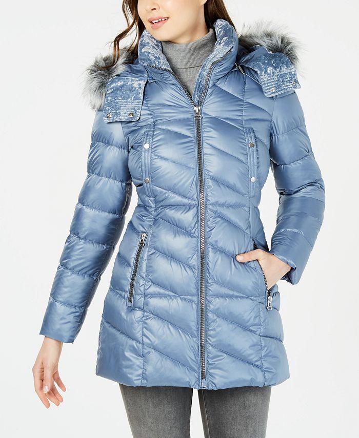 Marc New York - Velvet-Trim Faux-Fur Hooded Puffer Coat