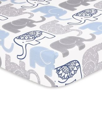 Little Peanut Navy Elephant Fitted Crib Sheet