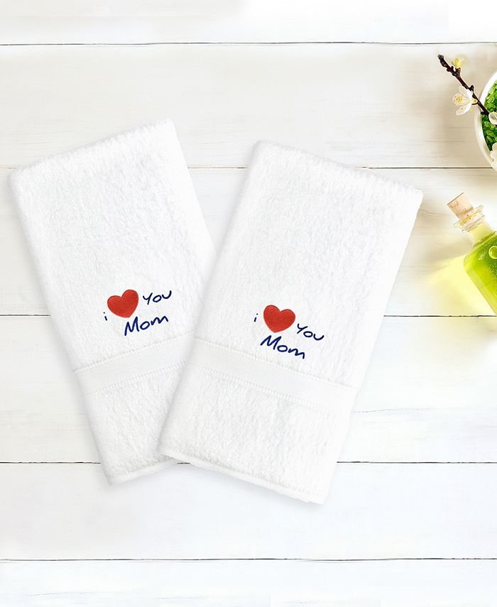 "Linum Home - Terry 2-Pack of Hand Towels Embroidered with ""I Love You Mom"""