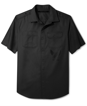 Sean John Shirt Solid Twill Short Sleeve Shirt