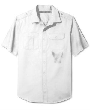 Sean John Shirt Big and Tall Solid Twill Short Sleeve Shirt
