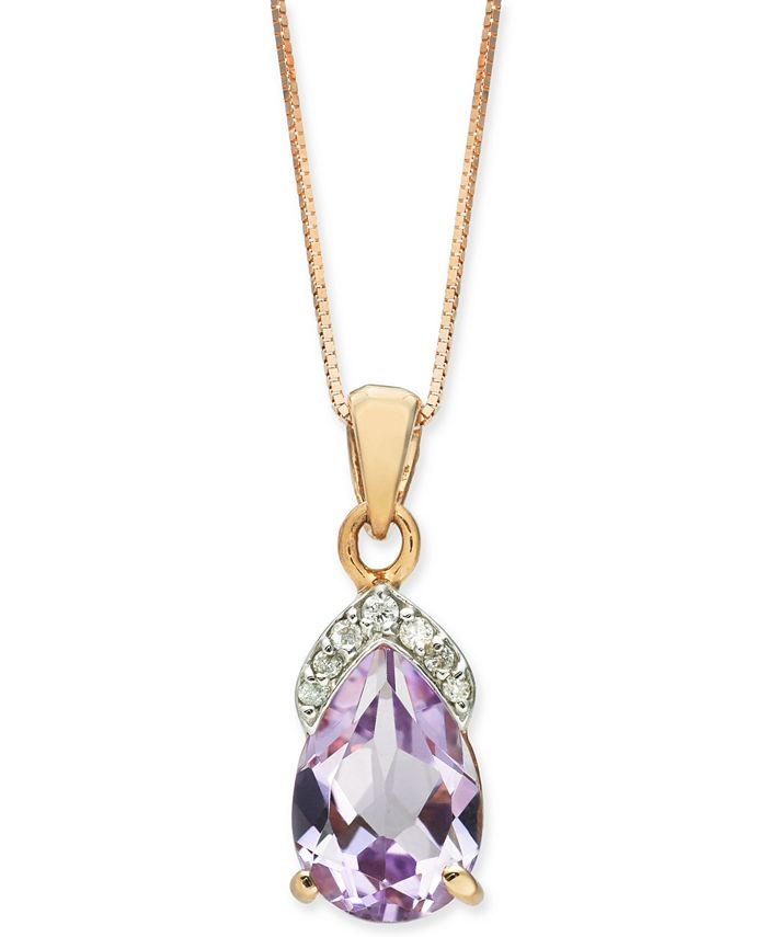 """Macy's - Pink Amethyst (1-3/4 ct. t.w.) & Diamond (1/20 ct. t.w.) 18"""" Pendant Necklace in 14k Rose Gold"""