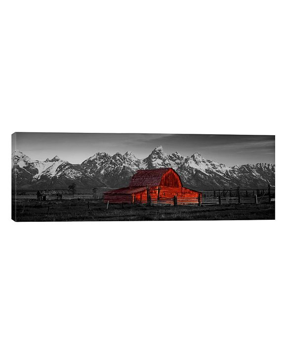 """iCanvas Barn Grand Teton National Park Wy Usa Color Pop by Panoramic Images Wrapped Canvas Print - 12"""" x 36"""""""