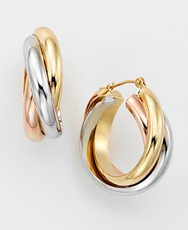 14k Gold Tri Color Hoop Earrings