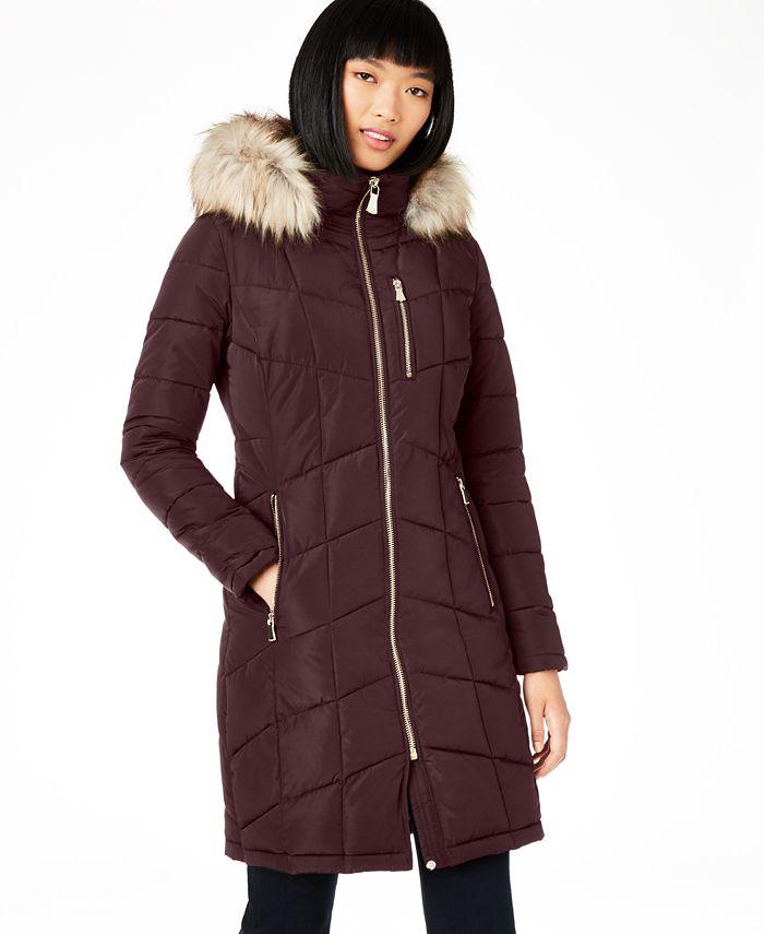 Calvin Klein Petite Faux Fur Trim Hooded Puffer Coat Created For Macy S Reviews Coats Petites Macy S