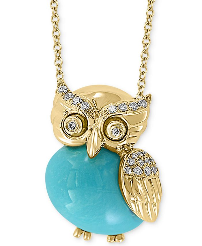 "EFFY Collection - Genuine Turquoise & Diamond (1/10 ct. t.w.) Owl 18"" Pendant Necklace in 14k Gold"