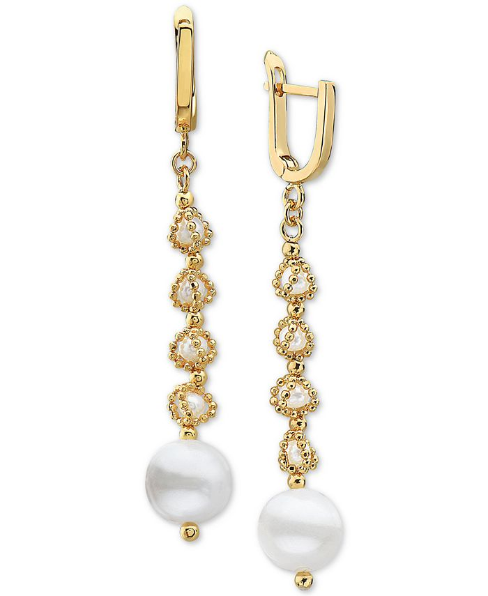 EFFY Collection - Cultured Freshwater Pearl (3-1/2mm & 9-1/2mm) Drop Earrings in 18k Gold-Plated Sterling Silver