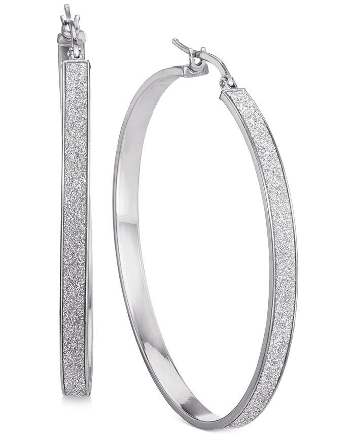 Macy's - Glitter Hoop Earrings in Sterling Silver