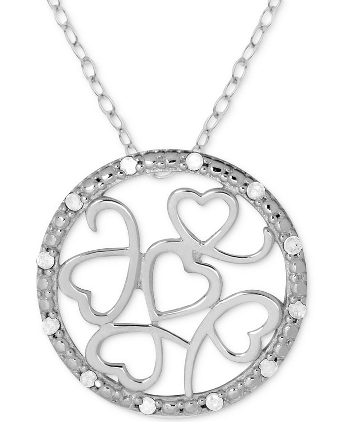 """Macy's - Diamond (1/10 ct. t.w.) Multi-Heart Circle 18"""" Pendant Necklace in Sterling Silver"""