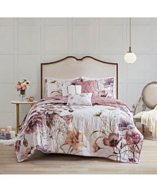Madison Park Cassandra Full/Queen 6-Pc. Floral Print Reversible Cotton Quilted Coverlet Set