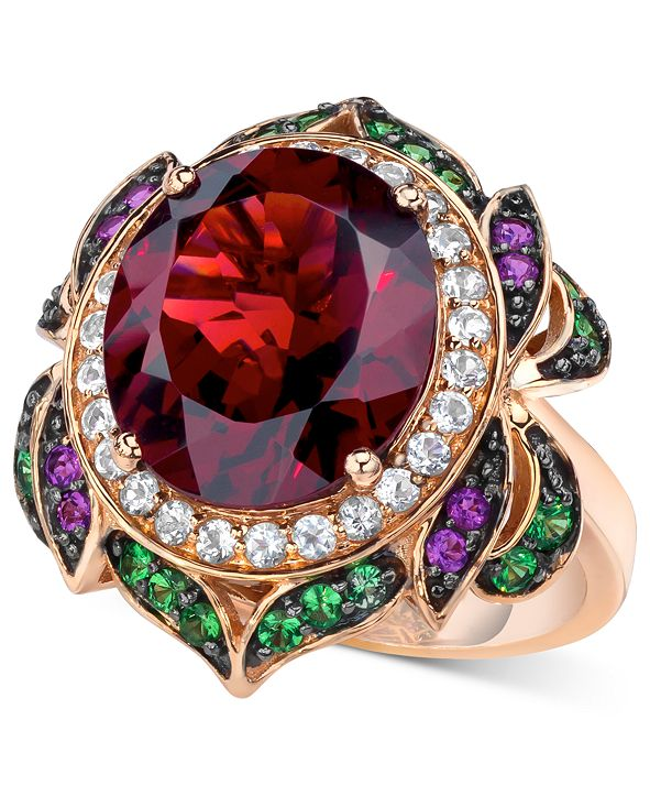 Le Vian Crazy Collection® Garnet (7-5/8 ct. t.w.) and Multi-Stone Round Flower Ring in 14k Rose Gold (Also Available in London Blue Topaz)