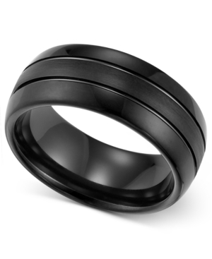 Triton Men's Ring, 8mm Black Tungsten 3-Row Wedding Band