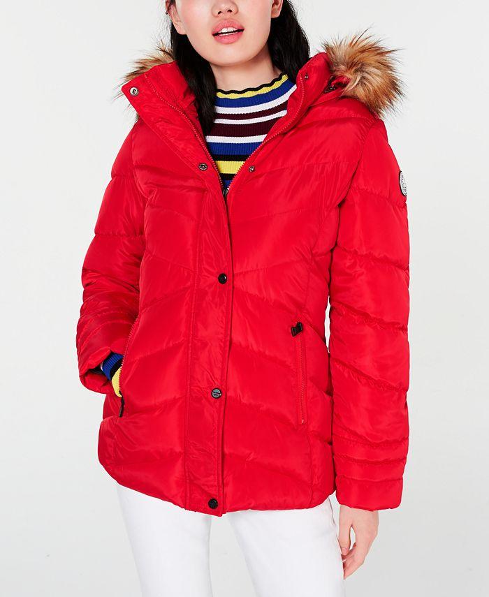 Madden Girl - Juniors' Hooded Faux-Fur-Trim Puffer Coat