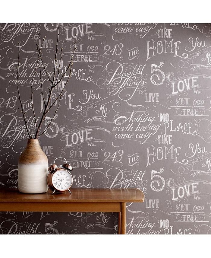 Graham & Brown - Chalk Board Grey Wallpaper