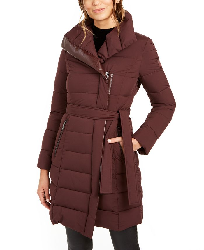 Tahari - Asymmetrical Belted Packable Puffer Coat