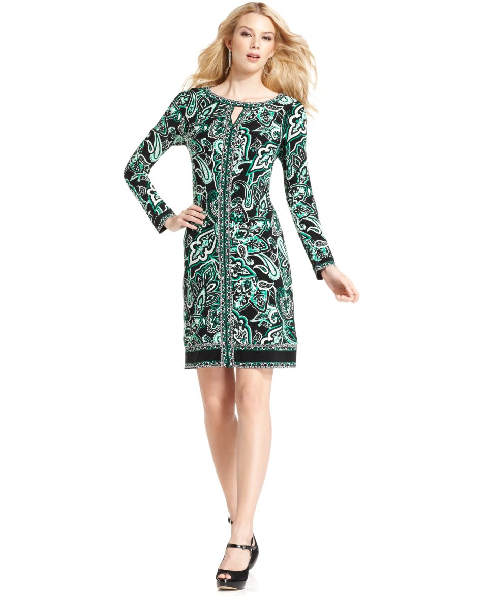 INC International Concepts Dress, Cap Sleeve Printed Belted A Line