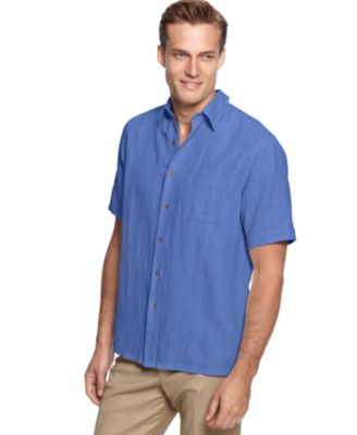 Image of Tasso Elba Silk Linen Short Sleeve Crosshatch Shirt