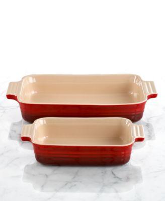 "Le Creuset Classic Rectangular Baking Dish with BONUS Baking Dish, Stoneware 10.5"" x 7"" & 7"" x 5"""