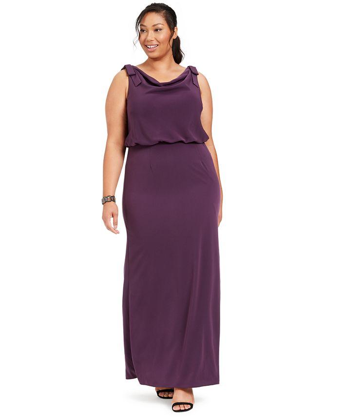 Adrianna Papell - Plus Size Blouson Cowl-Neck Gown